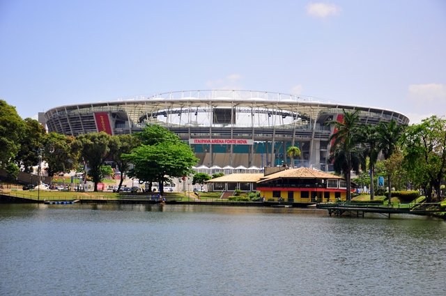 Stadium Fonte Nova from the Dique do Tororo (nice lake)