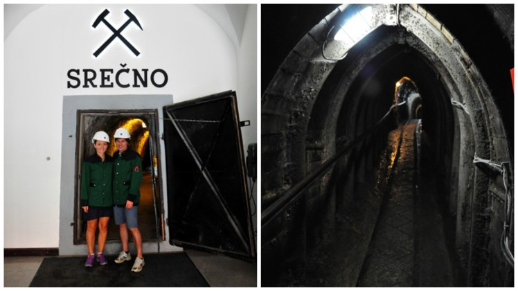 Left: Entrance to the mine with the traditional miners greeting Srečno Right: In the mine shaft