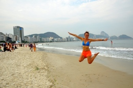 Jumping on Copacabana beach