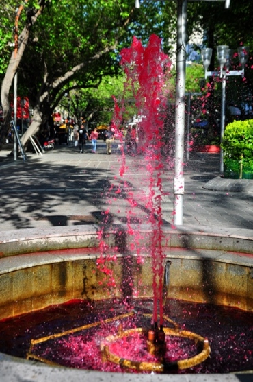 Why would someone want to have a red fountain?