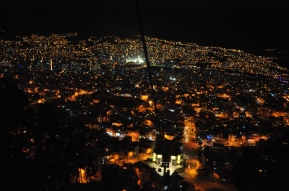 La Paz at night from the yellow teleferico