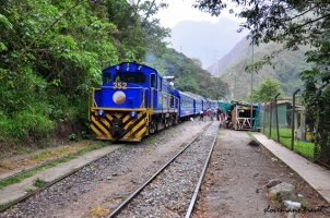 The train between Aguas Calientes and Hidroelectrica