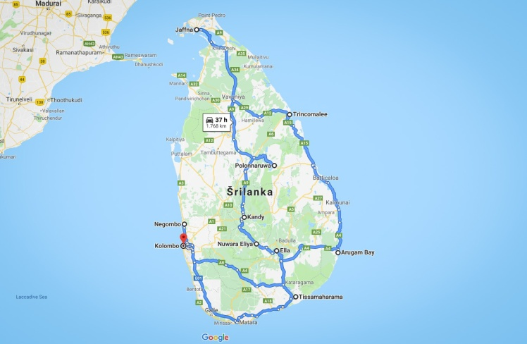 sri lanka itinerary map