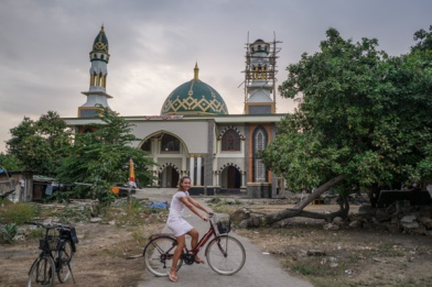 Biking around the islands and bumping into a mosque