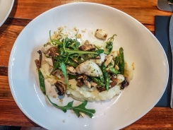 fish with mashed potatoes, mushrooms and rucola at Allende