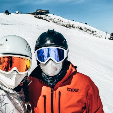 skiiers with masks